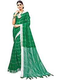 Anni Designer Women's Green Color Linen Silk Saree With Blouse Piece (SAMAIRA_1557_Free Size)