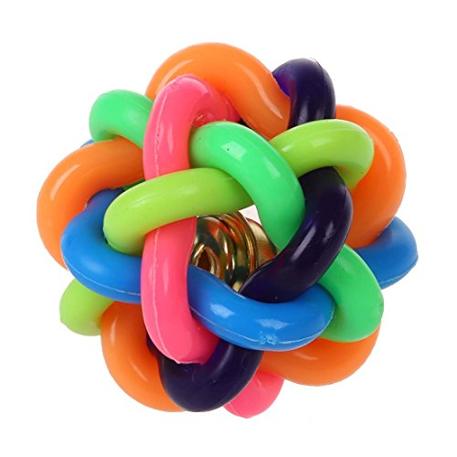 SODIAL(R) 4.5cm Groesse Hund Welpen Katze Rainbow Color Rubber Ball Spielzeug Bell-Ton runden Ball
