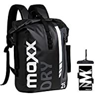 MaxxDry Waterproof Backpack, Rolltop Dry Bag, Easy Access Front-Zippered Pocket Including a Retractable Keychain, Removable Laptop Sleeve, with Waterproof Phone Pouch