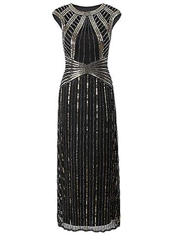 Vikoros 1920s Long Prom Dresses Cap Sleeve Beaded Sequin Evening Party Dress