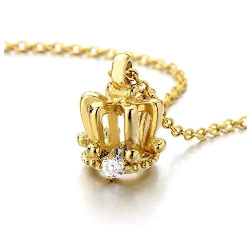 COOLSTEELANDBEYOND Winzige Gold-Krone Anhänger für Damen Edelstahl-Halskette mit Zirkonia - Gold-charme-halskette Winzige