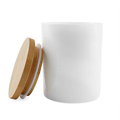 77L Vorratsdose, 300ML (10.13 OZ), Keramik Vorratsdose mit Luftdichtem Verschluss Bambusdeckel -...