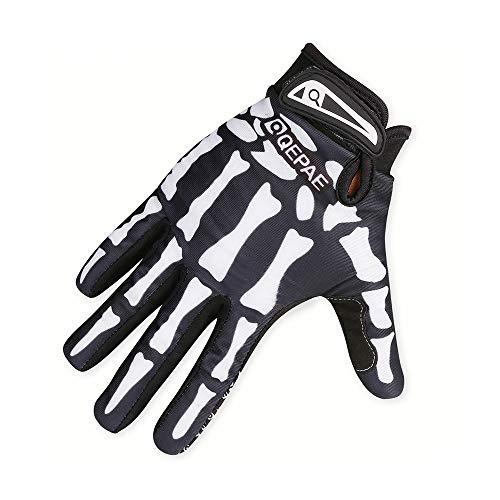 YuanChengKeji Fahrradhandschuhe Fahrrad Motorrad Skeleton Handschuhe Finger voll Knochen Outdoor Sport Handschuhe für Frauen männer für Fahrrad Fahren Moto Motocross (Color : White, Size : L)