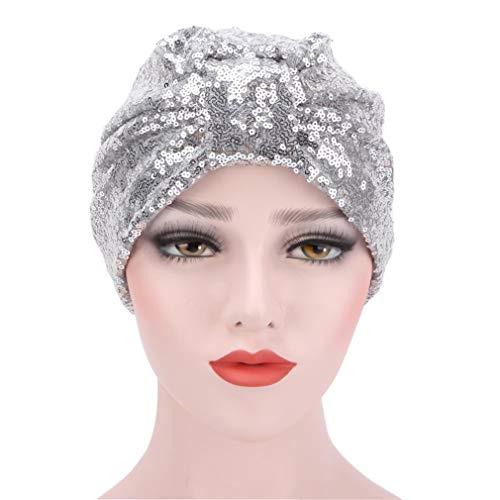 MOONQING Pailletten Beanie Hüte Sparkly Shining Beanie Cap Frau Mädchen Kostüm Abend Party Hüte, Silber