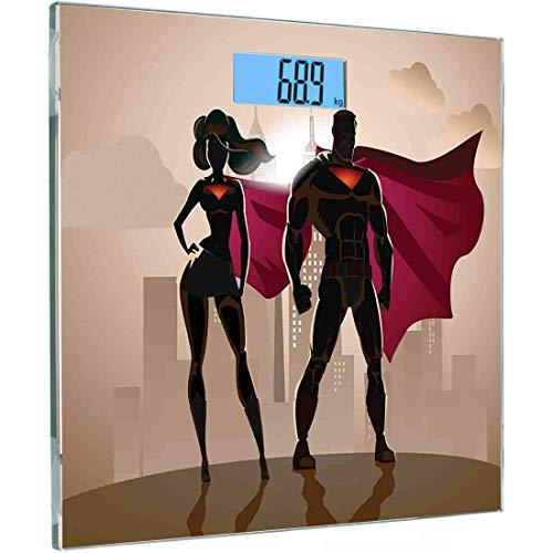 Ultraflache, hochpräzise Sensoren Digitale Waage mit Körpergewicht Superhelden-Personenwaage aus gehärtetem Glas, Super Woman Man Heroes in der Stadt Heiße Paare im Kostümmuster, Beigebraun, Magenta,