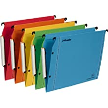 Esselte Lateral Hanging File Folders 3 Background V V-Shaped Base Assorted Colours