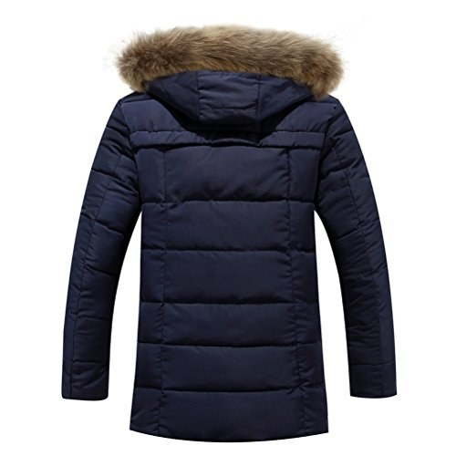 Zhhlaixing Vêtements d'hiver Men's Faux Fur Collar Plus Thicken Winter Coat Outerwear Long Zip Coat Dark Blue