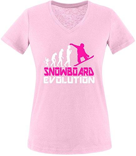EZYshirt® Snowboard Evolution Damen V-Neck T-Shirt Rosa/Weiss/Pink