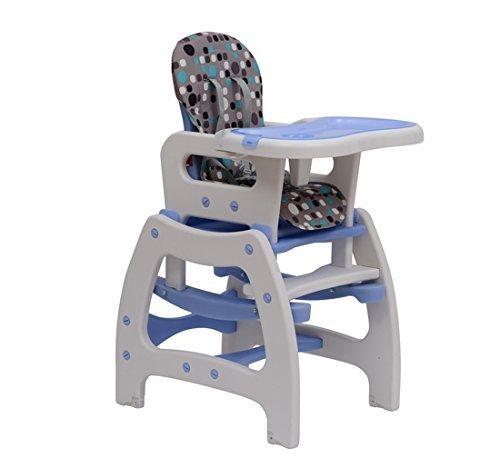 HOMCOM Trona para Bebé 3 en 1 Convertible en Silla Mercedora y Silla+Mesa con Cinturón de Seguridad