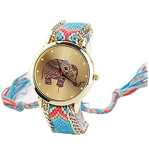 Leisial. Reloj Trenzado Elefante Reloj de Pulsera Señoras Estilo étnico Reloj de Cuarzo Cuerda de Tela Tejida Decoración Accesorios de Joyería para Mujer Ajustable