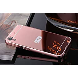 nKarta (TM) Branded Luxury Metal Bumper Acrylic PC Mirror Back Mobile Cove Case For HTC Desire 630 - Rose Gold