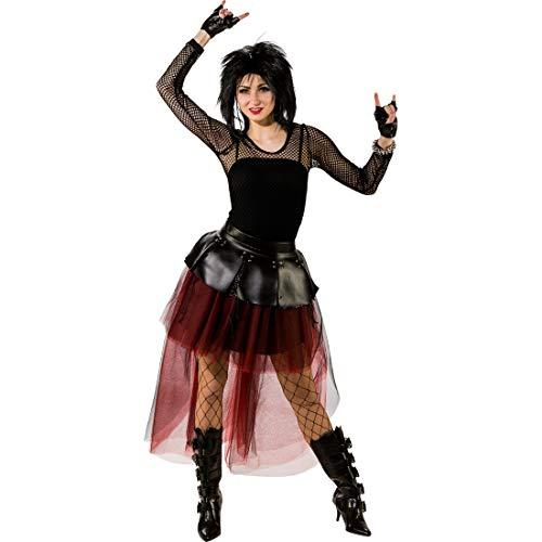 Amakando Vokuhila-Rock für Frauen Hexe / Rot-Schwarz in Größe L/XL (44 - 50) / Legeres Damen-Tutu Punk-Ballerina / Passend zu Halloween & Fasching