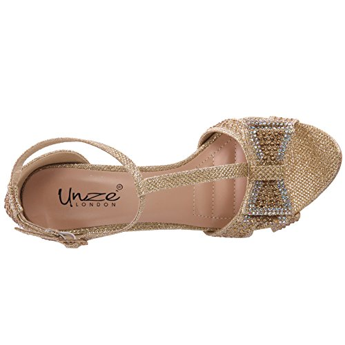 Unze Womens ' Mishka ' Bow accentati Sandalo Oro