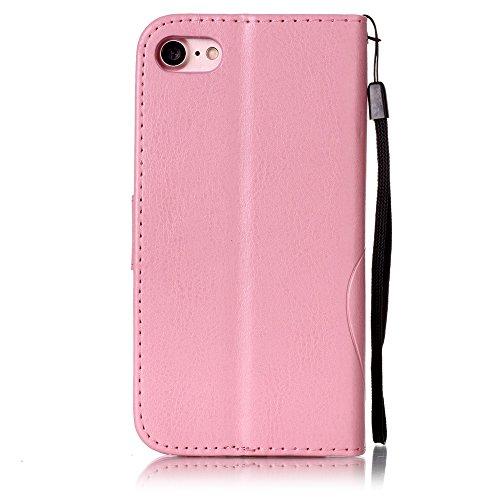 Voguecase Pour Apple iPhone 7 4,7 Coque, Étui en cuir synthétique chic avec fonction support pratique pour Apple iPhone 7 4,7 (Papillon VI-Diamant-Rouge Marron)de Gratuit stylet l'écran aléatoire univ Papillon VI-Diamant-Pink