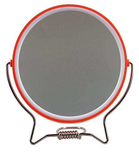 Rasierspiegel, Spiegel, 2-fach, zum Stellen oder Aufhängen, Kosmetik-Spiegel mit 2 Seiten, Orange