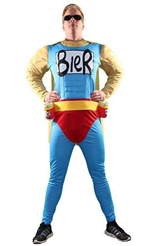 Foxxeo Das Biermann Helden Kostüm für echte Männer - Größe S-XXL - für Karneval Fasching Junggesellenabschied JGA Größe L (Avengers Kostüm Männer)