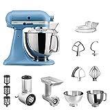 KitchenAid Artisan Küchenmaschine Vintage Blue im Starter-Set inkl. Gemüseschneider, Fleischwolf...