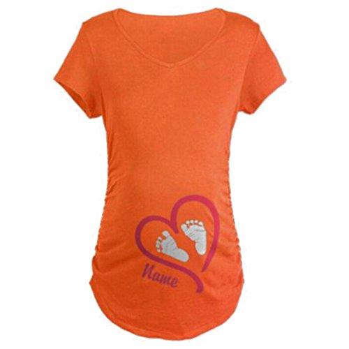 Gagacity Damen Baby Hände Fußabdruck T-Shirt Top Oberteil Schwangere
