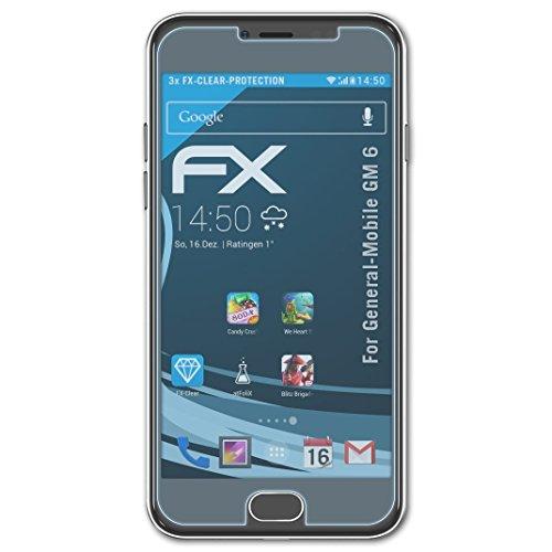 atFolix Schutzfolie kompatibel mit General-Mobile GM 6 Folie, ultraklare FX Bildschirmschutzfolie (3X)