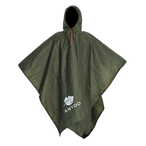 Anyoo Lightweight Waterproof Rain Poncho Reusable Ripstop Breathable Multi-use Raincoat for Men Women with Hood Packable Tarp Shelter Ground Sheet Ideal for Outdoors Camping Hiking Fishing
