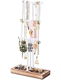 Love-KANKEI Jewellery Stand/Necklace Holder max height 58CM Metal Jewellery Holder with Large Capacity for Necklace, Bracelet,and Earrings Storage White