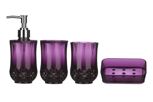 premier housewares cristallo bathroom set 4 pieces purple
