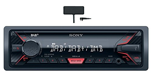 Sony DSXA300DKITEI Kit Autoradio con Antenna DAB+, Bluetooth, NFC, USB/AUS, Apple iPod Control, Megabass, 4 x 55 W, Nero
