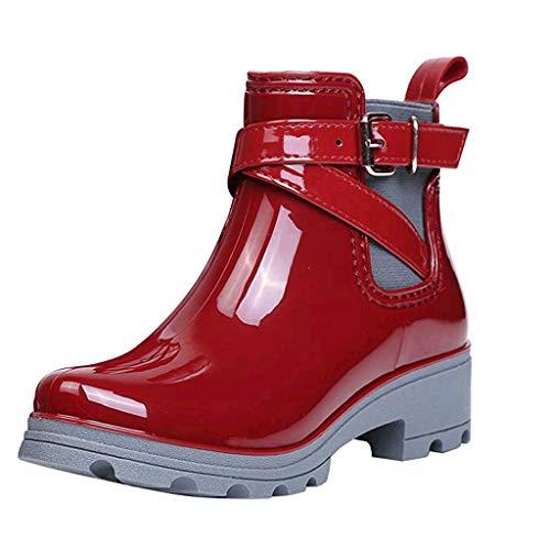 Damen Gummistiefel Regenstiefel Stiefeletten mit Schnallendesign, Chelsea Kurzschaft Stiefel Schlupfstiefel Gummistiefeletten Celucke (Rot, 37 EU)