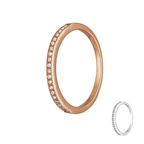 Treuheld | 925 Sterling Silber RING mit KRISTALLEN - SILBER oder ROSE-GOLD - Strass Damen-Ring mit Zirkonia - Schmuck mit Kristallsteinen in 8 Größen: 48, 50, 52, 54, 56, 58, 60, 62 - Hochzeitsring rosegold 52