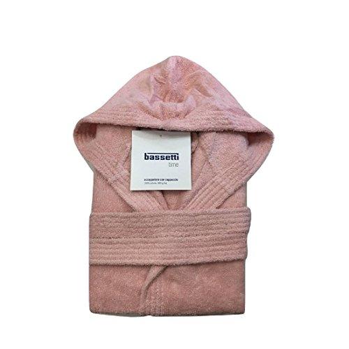 Bassetti - accappatoio con cappuccio in spugna di puro cotone bassetti time, vari colori, unisex-rosa-m