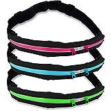 Laufgurt / stilvolle Gürteltasche / Bauchtasche / Lauftasche für Laufen Wandern Klettern Reiten / leuchtet in der Nacht (reflektiert z.B. Licht von Autos) / 3x Farben / Handys bis 5,5Zoll / elastisch