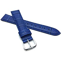 12mm Royal Blue Womens' Alligator Style Genuine Leather Watch Strap Band