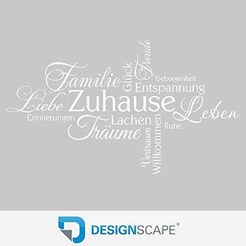 DESIGNSCAPE® Wandtattoo Zuhause Schriften, Lachen, Träume, Erinnerungen, Liebe, Familie, Leben, Vertrauen, Glück, Entspannung…