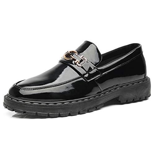 Mode Schuhe, Freizeitschuhe Herren Business Casual Halbschuhe für Herren mit Metallschnalle Slip-On-Stitch-Lackleder-Wohnungen Gemütliche Halbschuhe mit runder Kappe Leichte, abriebfeste Halbschuhe Pe - Pe-uniformen