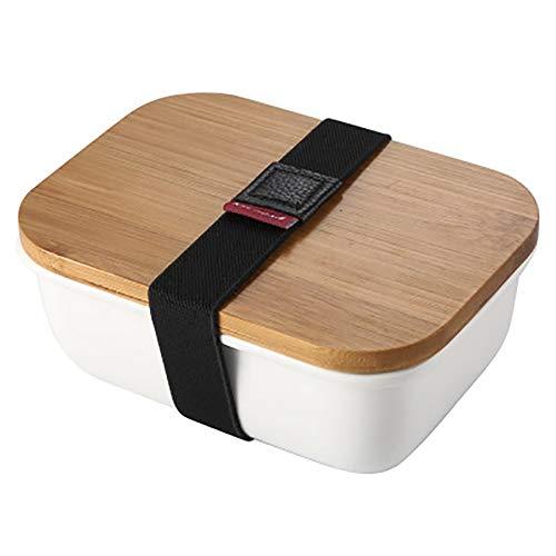 SODIAL Mikrowellengeeignet Lunch Box Bambus Keramik Bento Box W?rme D?mmung Lebensmittel Beh?lter Aufbewahrungs Box Crisper S -