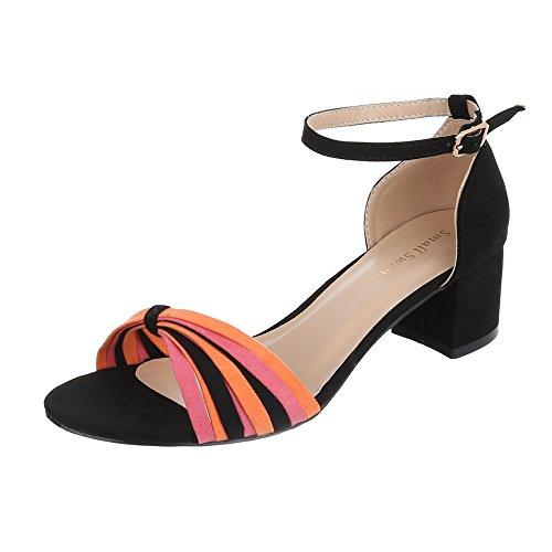Ital-Design - Sandali alla schiava Donna Schwarz Orange FE330-2