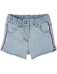 7086e18ef4a Vertbaudet Dual Fabric   Denim Shorts Outfit for Baby Girls