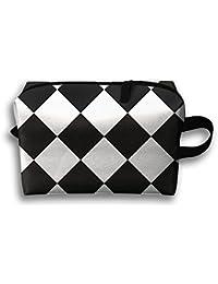 Blanco y Negro Patrón de Cuadros Cuadrada multifunción portátil bolsa impermeable ...