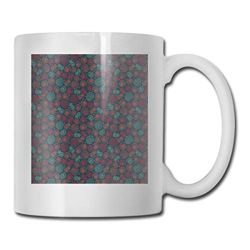 Jolly2T Funny Ceramic Novelty Coffee Mug 11oz,Abstract Floral Spiral Motifs In Lace Style with National Elements Doodle Ornaments,Unisex Who Tea Mugs Coffee Cups,Suitable for Office and Home Floral Demitasse Cup