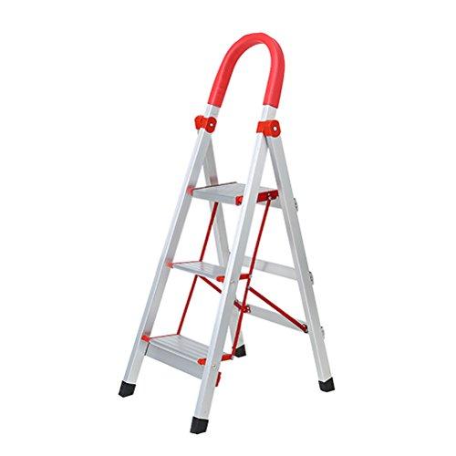 YXX- Homewares Folding Step Hocker Ladder für Erwachsene Aluminium Faltbare 3/4/5/6 Tread Stepstool mit Anti-Rutsch-Matte und Sicherheitsschlösser (größe : 3 Tiers) - Step Ladder 6 Tread