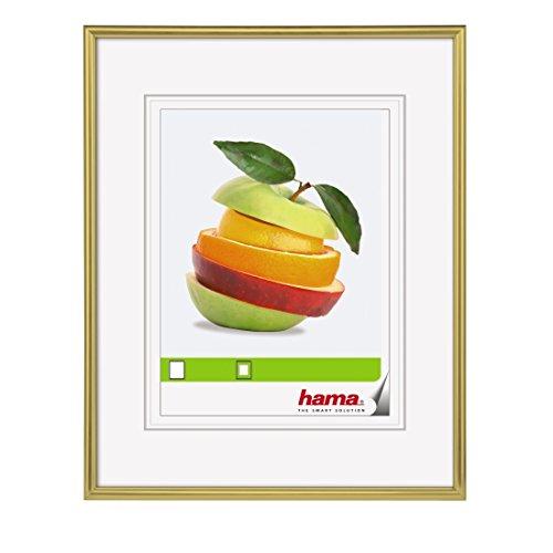 Hama Bilderrahmen Sevilla (DIN A4, 21 x 29,7 cm, mit Passepartout 15 x 20 cm, hochwertiges Glas, Kunststoff Rahmen, zum Aufhängen) gold Großen Rahmen Gläser