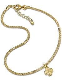 SilberDream Chaine de Cheville ronde dorée - Feuille de trèfle - 27cm - Argent sterling 925 - Bracelet de cheville - Bijoux Pied SDF2214Y