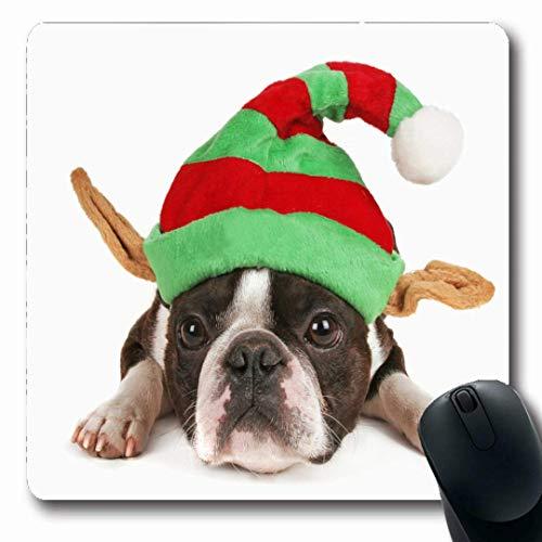Luancrop Mousepads Freund-weißer Boston-Terrier-Weihnachtshut auf Elfen-Feiertags-Kostüm-Hundebaby-bestem großem schauendem rutschfestem Spiel-Mausunterlage-Gummi-länglicher Matte