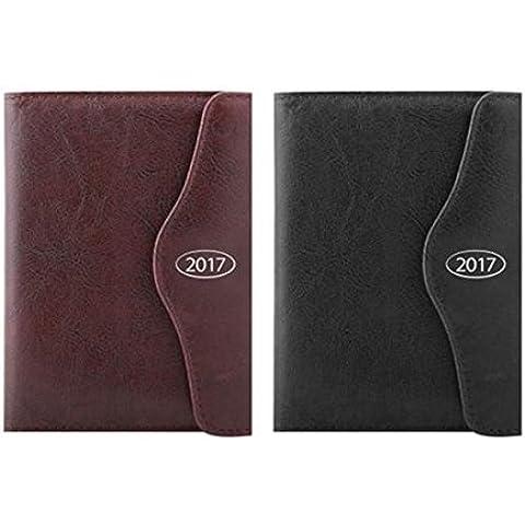 2017negro A5índice, día una página diario con cierre magnético, pen-leatherette 2080