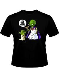 T-Shirt Parodie auf Yoda von Star Wars und Kami-sama von Dragon Ball Z - Traduction allemand - Ton père je suis - T-shirt Homme Noir - Haute Qualité