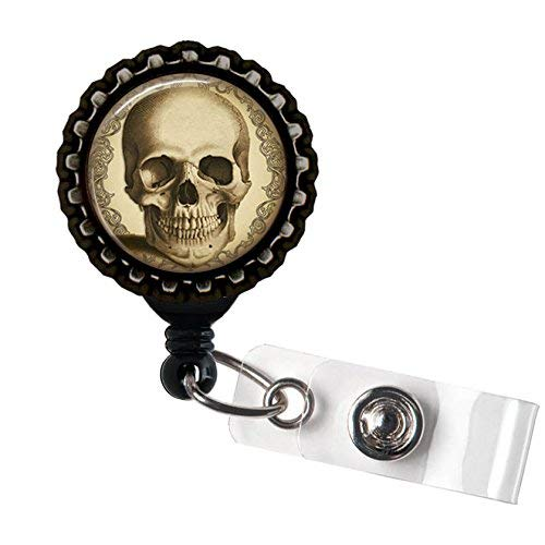 Antik Steampunk Totenkopf schwarz Retractable ID Tag Badge Reel von Geek Buttons