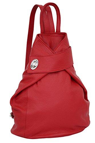 AMBRA Moda Leder Rucksack, Damen tasche, Handtasche, Schultertasche GL014 (Rot)