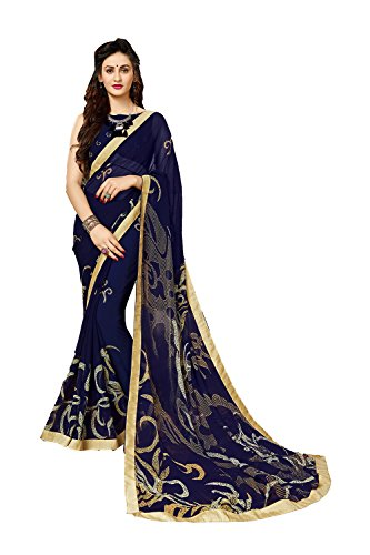 Indian Sarees For Women Wedding Designer Party Wear Traditional Blue Sari. (Saree Georgette)