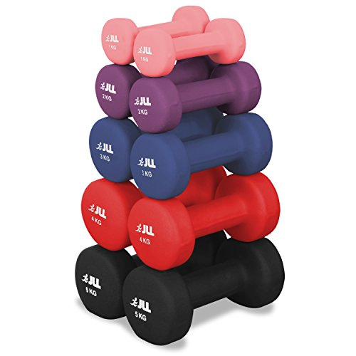 JLL® Neoprene Coated Steel Dumbbells Aerobic Weight Fitness Training - Sold as a pair (Pink, 2kg - 2x 1kg)