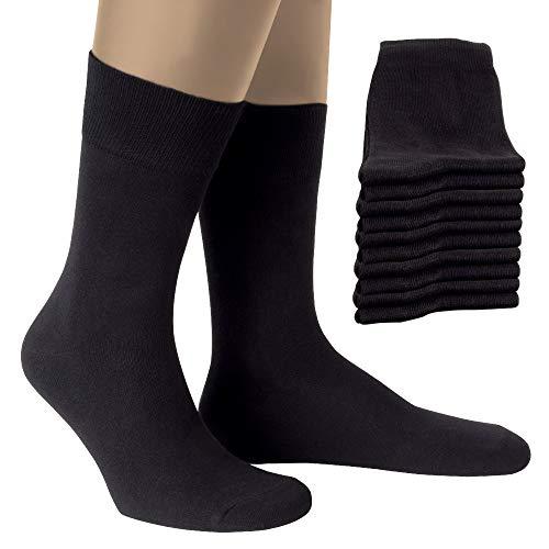 ALL ABOUT SOCKS Schwarze Socken für Herren & Damen (10x Paar) - Herrensocken für Business & Freizeit - Strümpfe aus Baumwolle, Black, 39-42